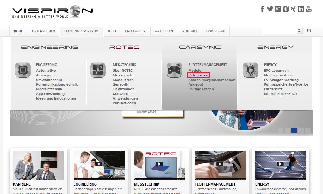 Referenzen optimal in Unternehmenswebseite integrieren Referenzmarketing Vispiron Homepage 00