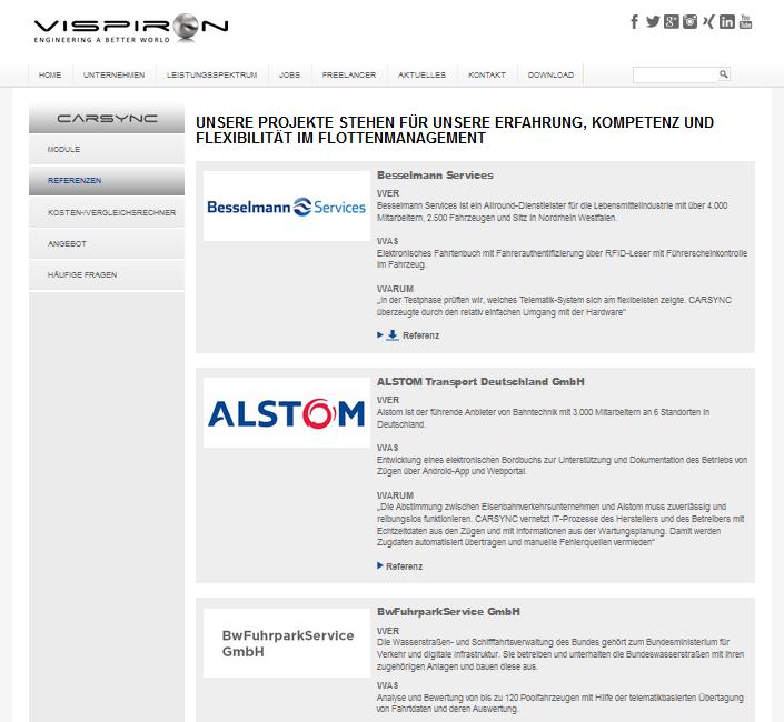 97 Referenzen optimal in Unternehmenswebseite integrieren Referenzmarketing Vispiron Referenzseite 01