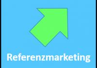 Zum Beitrag Marketing für B2B-Startups: grüner Pfeil auf blauem Hintergrund