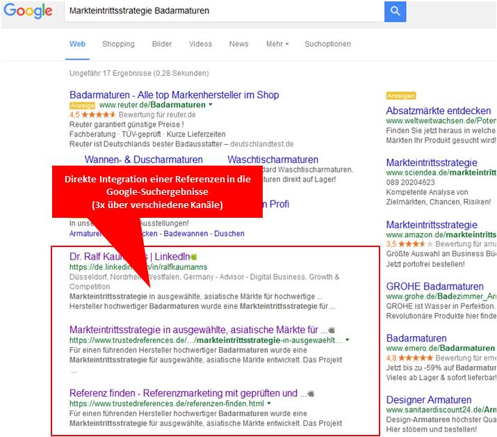 direkte in die Google-Suchergebnisse