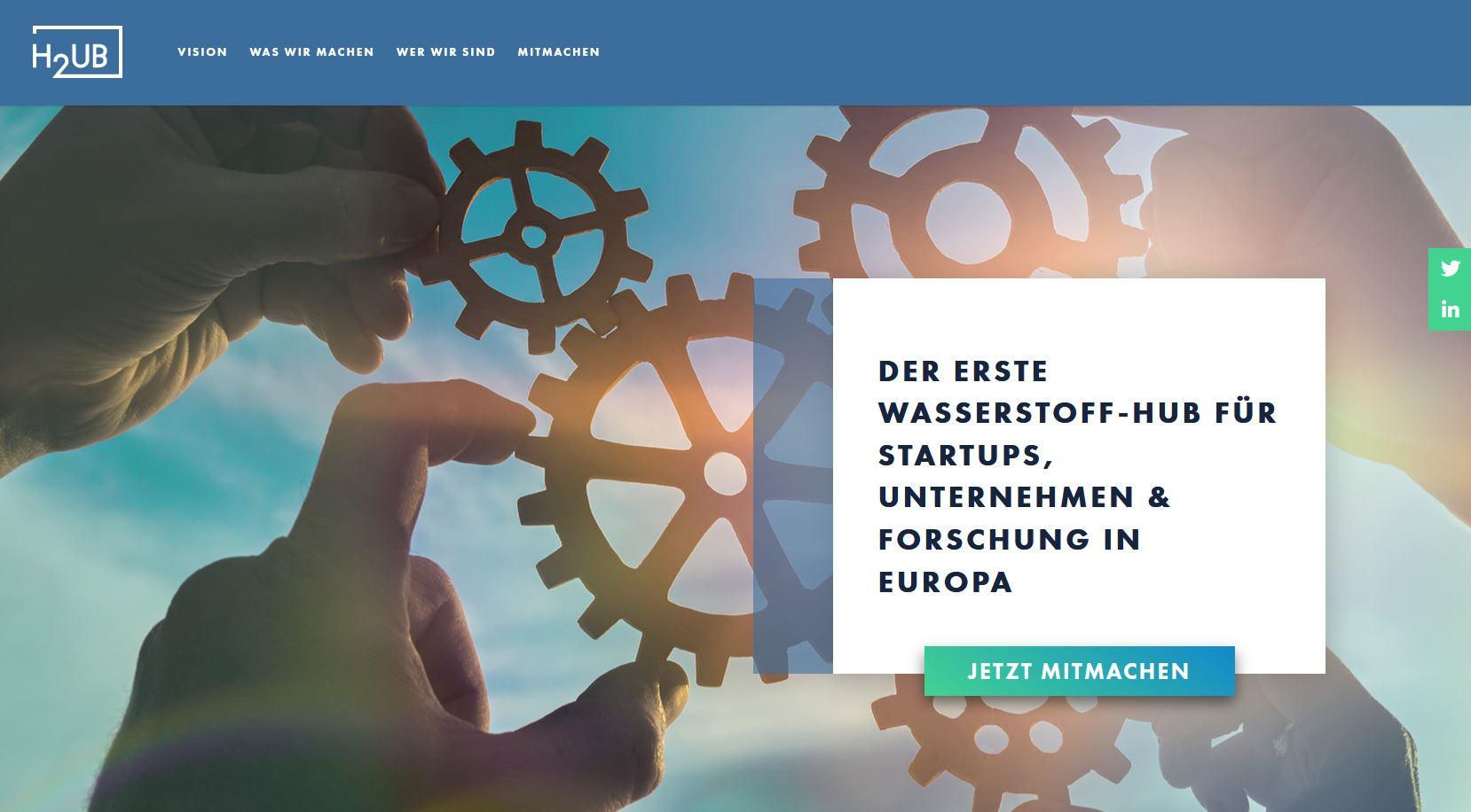 Website des neuen Wasserstoff-Startup-Hub www.h2ub.com